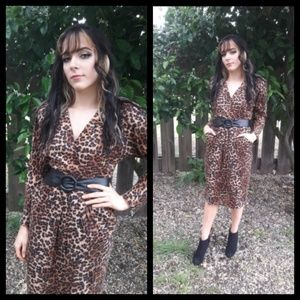 Unbelievable! Vtg 80's faux wrap leopard dress!